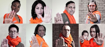 Collage of 8 people and one child wearing orange to recognize international day for the elimination of violence against women