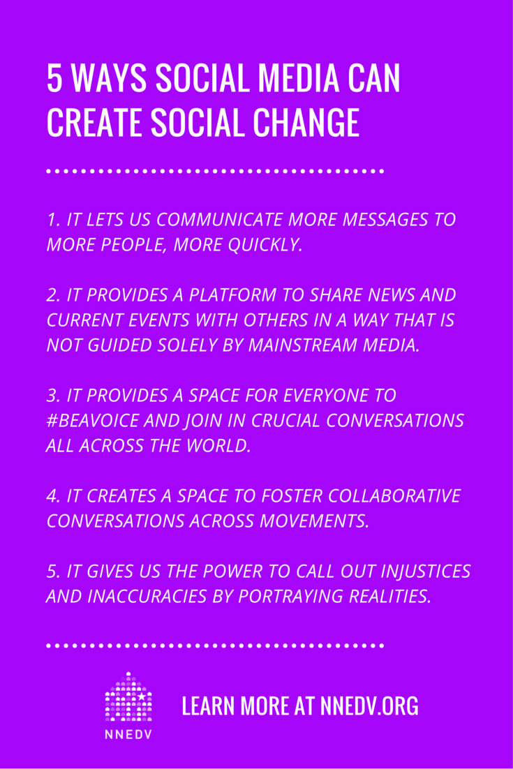 Five ways social media can create social change. 1 it lets us communicate more messages to more people, more quickly. 2 it provides a platform to share news and current events with others in a way that is not guided solely by mainstream media. 3 it provides a space for everyone to be a voice and join in crucial conversations across the world. It creates a space to foster collaborative conversations across movements. 5 it gives us the power to call out injustices and inaccuracies by portraying realities