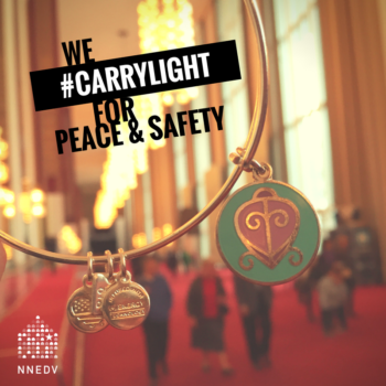 Alex and Ani bracelet with infographic saying we carry light for peace and safety