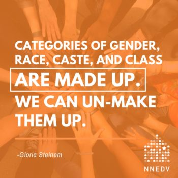 An image with quote from Gloria Steinem stating that categories of gender, race, caste and class are made up. We can un-make them up. In background is a human hand mandala