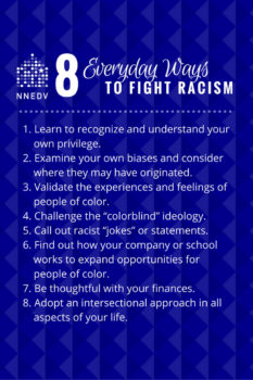 Eight ways to fight every day racism. 1 Recognize and understand your own privilege. 2 examine your own biases and consider where they may have originated. 3 validate the experiences and feelings of people of color. 4 challenge the colorblind ideology. 5