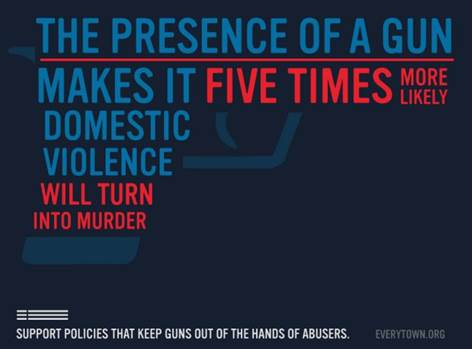 The presence of a gun makes it five times more likely domestic violence will turn into murder. Support policies that keep guns out of the hands of abusers everytown.org