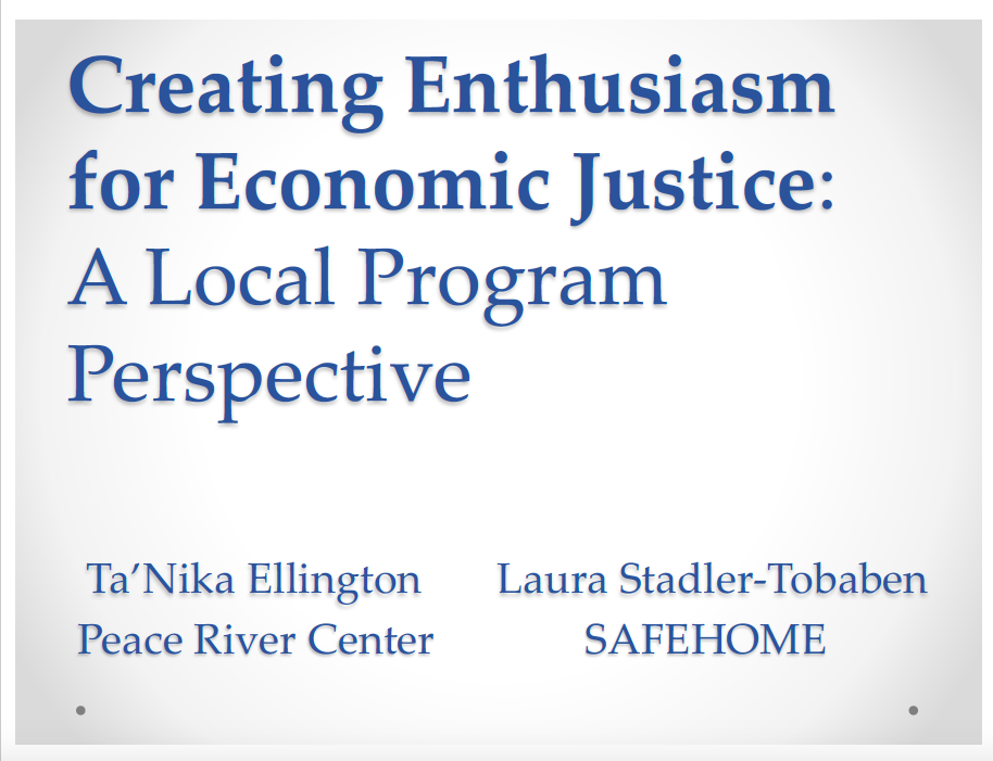 Creating Enthusiasm for Economic Justice: A Local Program Perspective – EJ Summit 2018