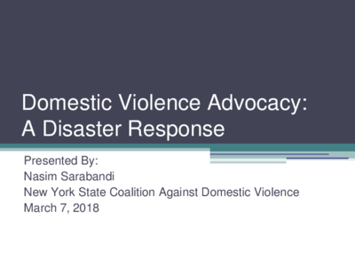Curriculum: Intersection of Domestic Violence and Natural Disasters – EJ Summit 2018