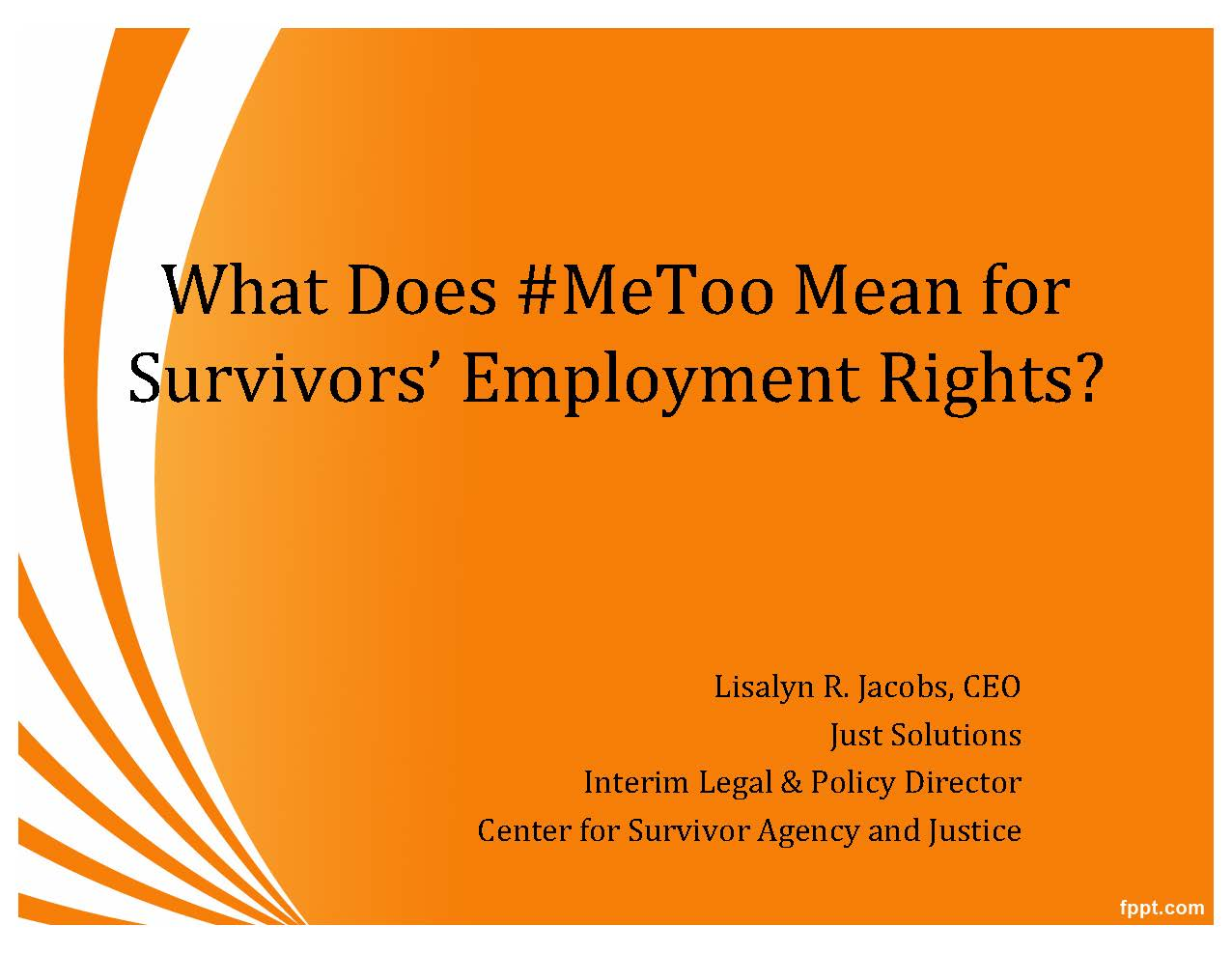 What Does #MeToo Mean for Survivors' Employment Rights? – EJ Summit 2018