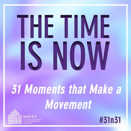 "A purple and cyan swirl overlai with text that says ""The Time Is Now, 31 Moments that make a movement"""