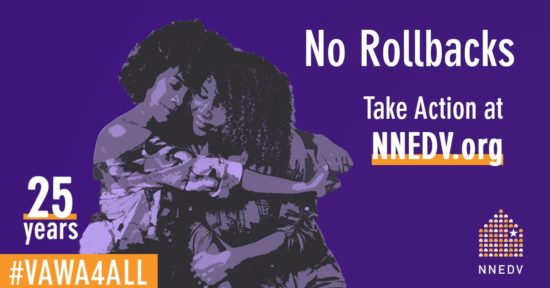 "A purple graphic of two stylized women hugging with text overlay ""No Rollbacks"""